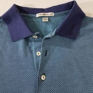 Peter Millar Polo Shirt Geometric Grid Pattern